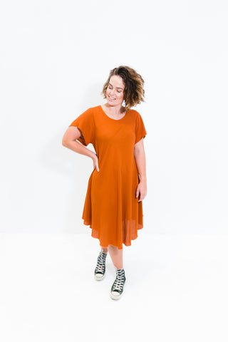 Rust Cori Dress With Short Sleeve