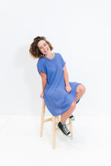 Powder Blue Cori Dress With Short Sleeve