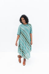 Aqua Aztec Srey Touch Dress with Sleeves