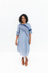 Navy Paisley Srey Touch Dress with Sleeves