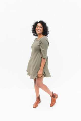 Khaki Cori 3/4 Sleeve Dress