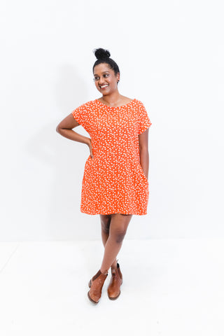 Orange Floral Socheat Pocket Dress