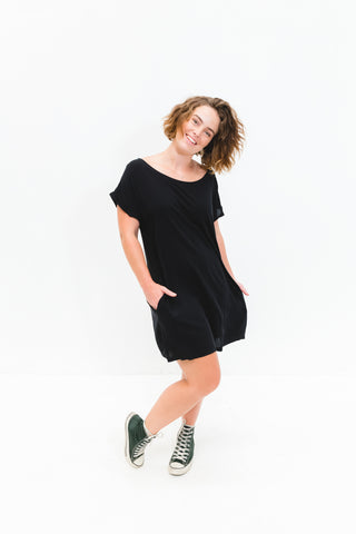 Black Rayon Socheat Pocket Dress