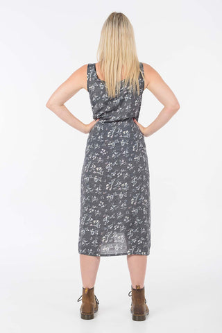Silver Silk Floral Fisher Dress