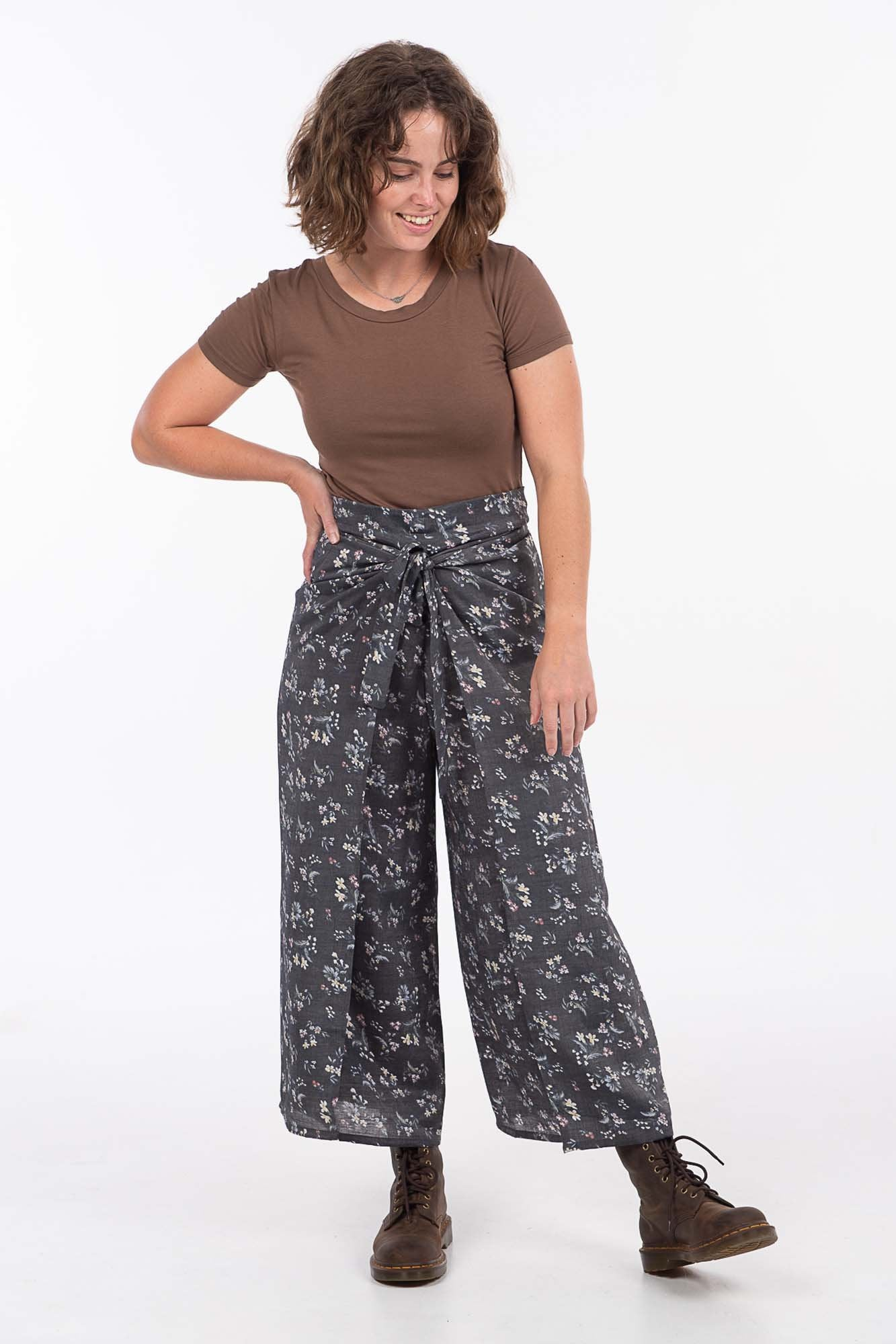 Silver Silk Floral Wrap Pants