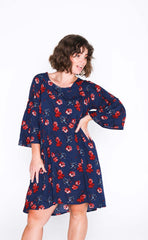 Navy Floral Black Susie Dress - Front