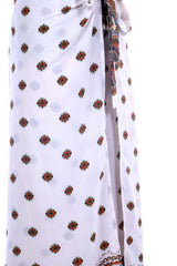White China Dragon Border Wrap Pants