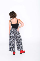 Black and White Toucan Wrap Pants - Back