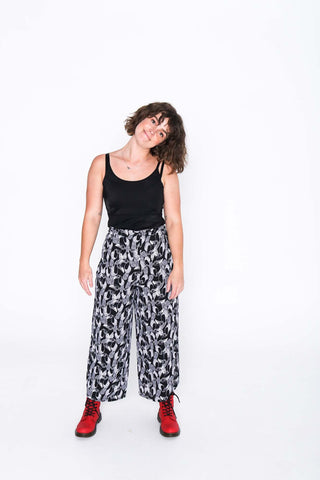 Black and White Toucan Wrap Pants