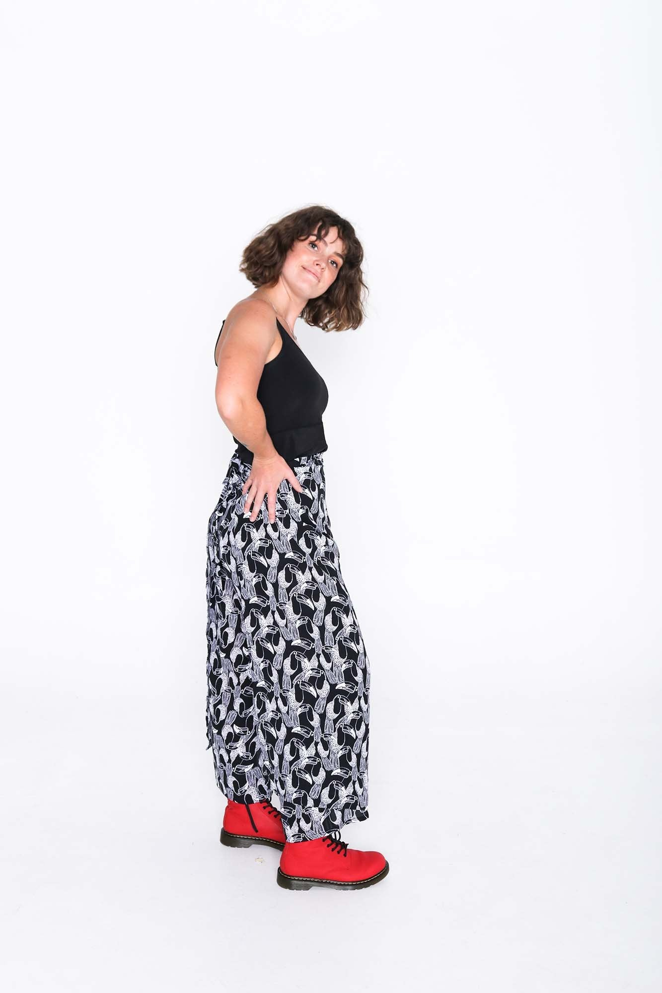 Black and White Toucan Wrap Pants - Side