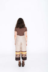 Retro border Wrap Pants