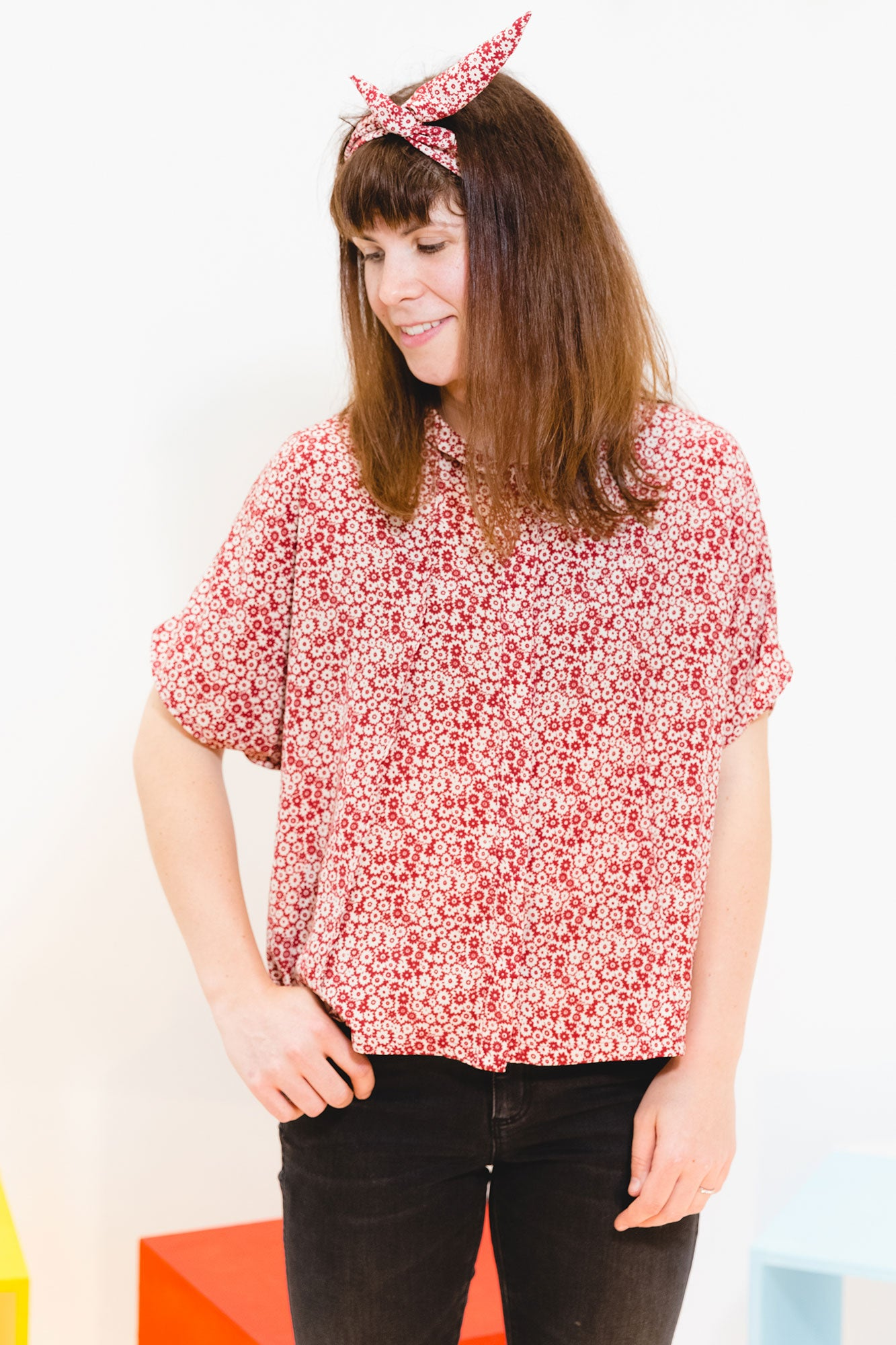 Burgundy Floral Gracie Top