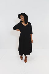 Black Srey Touch Dress with Sleeves