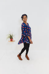 Navy Floral Butterfly Top