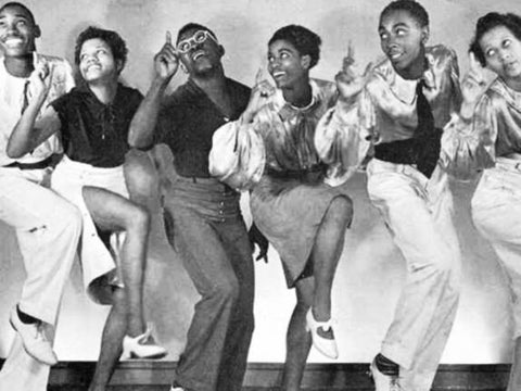 Whitey's Lindy Hoppers: (Left to Right) Frankie Manning, Naomi Waller, Jerome Williams, Lucille Middleton, Billie Williams, Mildred Cruse.