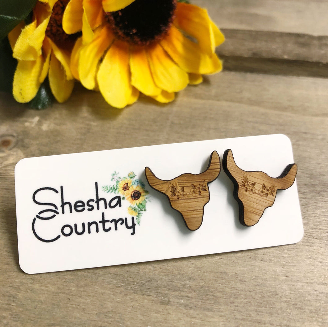 Cow Horn Wood Studs - with Floral Crown