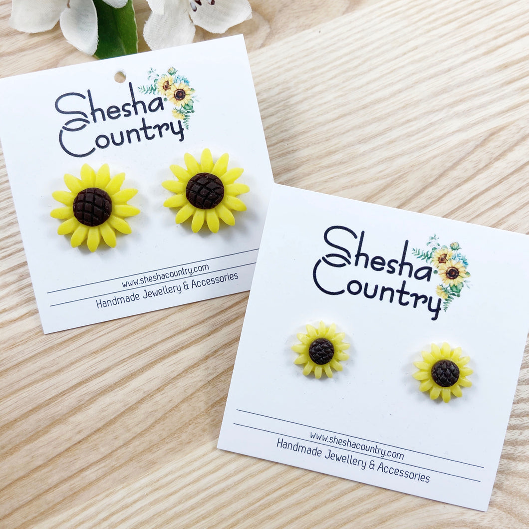 Sunflower Resin Studs • 2 sizes