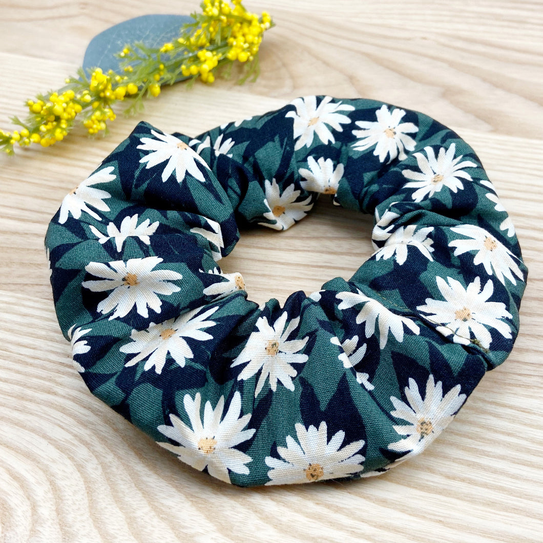 Dark Green Daisy Scrunchie