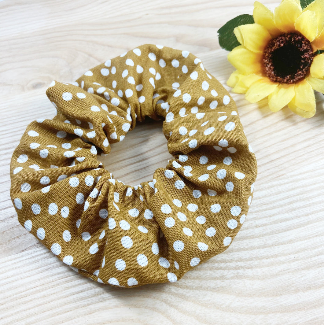 Dotty Mustard Scrunchie