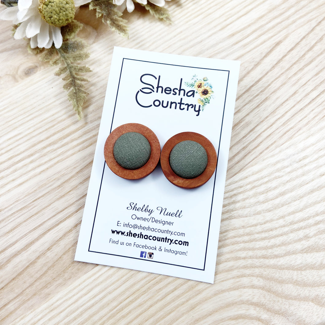 Khaki Wood Earrings • Maxi