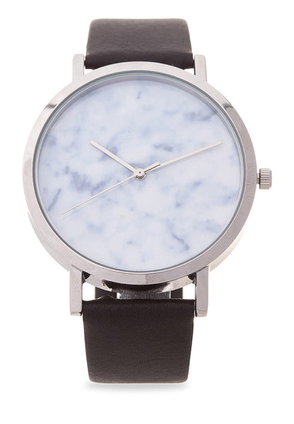 Silverwater Carrara Marble Print Genuine Leather Watch - Valor Watches Australia