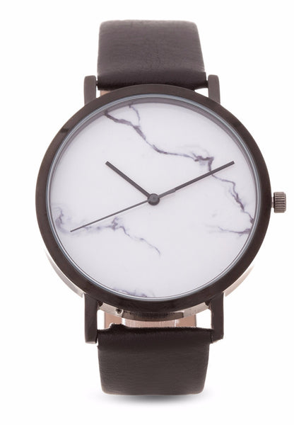 Beautiful Unique Lightning Carrara marble leather watch from valor watches australia