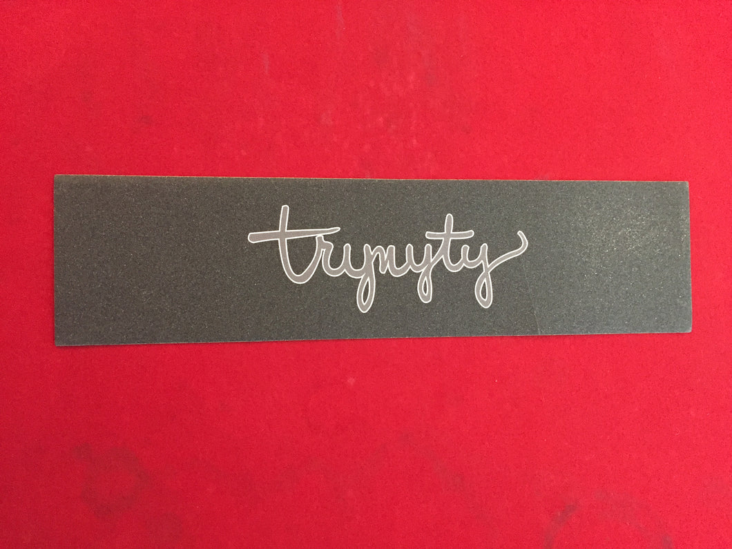TRYNYTY Limited Stanley Script Gray & White Griptape (1 sheet)