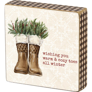 Wishing Warm & Cozy Toes All Winter Block Sign