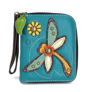 Turquoise Dragonfly Zip Around Wallet