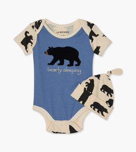 Black Bears Baby Bodysuit with Hat