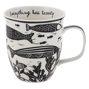 Boho Black & White Fish Mug