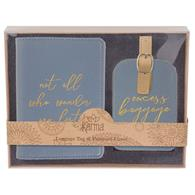 Blue Passport & Luggage Tag Set