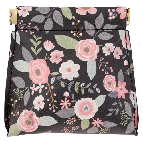 Charcoal Flowers Coin Purse