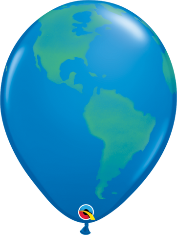 "11"" Globe Green on Dark Blue-50 Count, 11RQI, Qualatex, tmyers.com - T. Myers Magic Inc."
