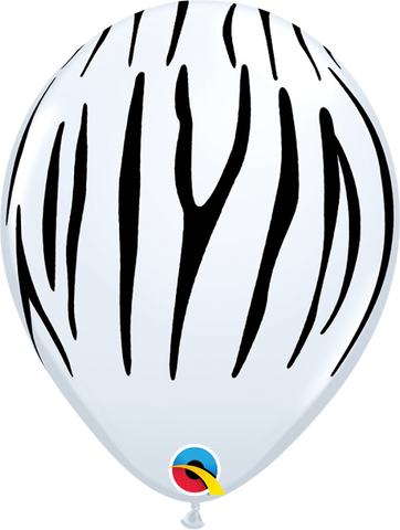 "11"" Zebra Stripes White-100 Count, 11RQI, Qualatex, T. Myers Magic Inc. - T. Myers Magic Inc."