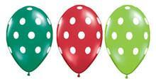 "11"" Christmas Big Polka Dots Assortment (Seasonal)-50 Count, 11RQI, Qualatex, tmyers.com - T. Myers Magic Inc."