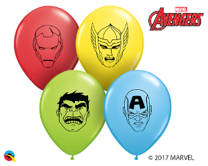 "5"" Round Qualatex Marvel Heroes Face Assortment-100 Count, 5RQI, Qualatex, T. Myers Magic Inc. - T. Myers Magic Inc."