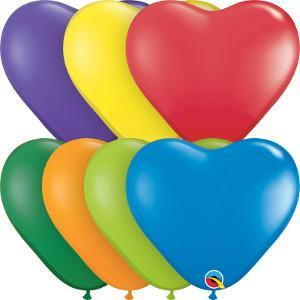 "6"" Qualatex Heart Carnival Assortment-100 Count, 6HQ, Qualatex, tmyers.com - T. Myers Magic Inc."
