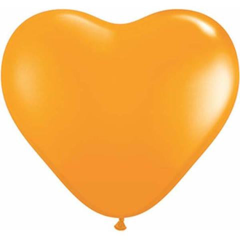 "6"" Qualatex Heart Standard Orange-100 Count, 6HQ, Qualatex, tmyers.com - T. Myers Magic Inc."
