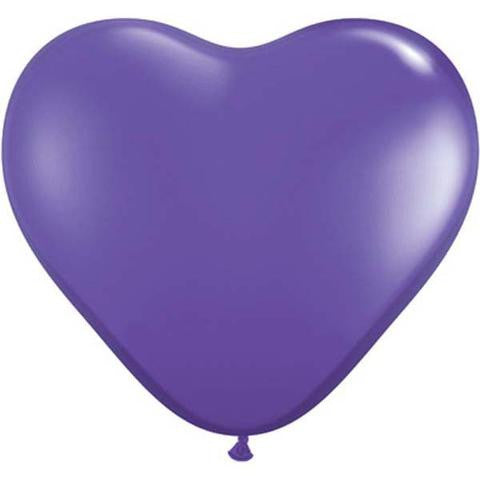 "6"" Qualatex Heart Fashion Purple Violet-100 Count, 6HQ, Qualatex, tmyers.com - T. Myers Magic Inc."