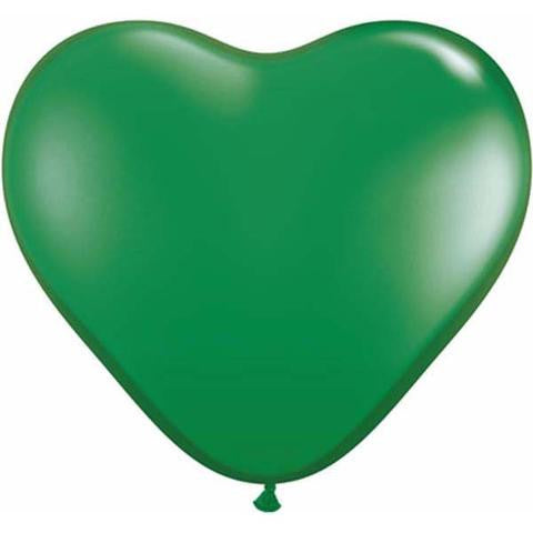 "6"" Qualatex Heart Standard Green-100 Count, 6HQ, Qualatex, tmyers.com - T. Myers Magic Inc."