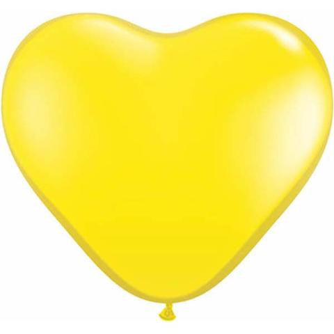 "6"" Qualatex Heart Standard Yellow-100 Count, 6HQ, Qualatex, tmyers.com - T. Myers Magic Inc."