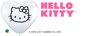 6Q Heart Hello Kitty Face White w/Black Ink-100 Count, 6HQI, Qualatex, tmyers.com - T. Myers Magic Inc.
