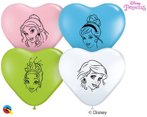 6Q Heart Pearl Disney Princess Faces Assortment-100 Count, 6HQI, Qualatex, T. Myers Magic Inc. - T. Myers Magic Inc.
