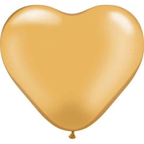"6"" Qualatex Heart Metallic Gold-100 Count, 6HQ, Qualatex, tmyers.com - T. Myers Magic Inc."