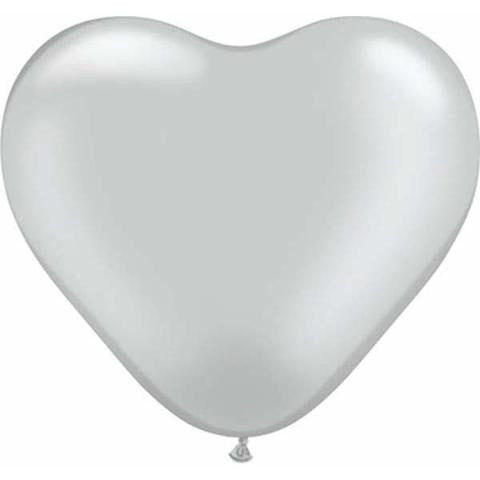 "6"" Qualatex Heart Metallic Silver-100 Count, 6HQ, Qualatex, tmyers.com - T. Myers Magic Inc."