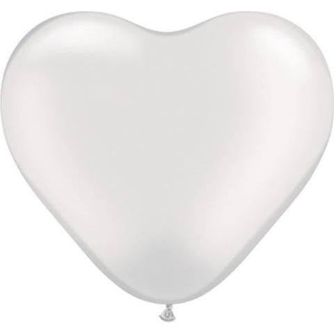 "6"" Qualatex Heart Pearl White, 6HQ, Qualatex, T. Myers Magic Inc. - T. Myers Magic Inc."
