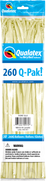 260Q Pak! Fashion Tone Ivory Silk-50 Count, 260Q-Pak, Qualatex, tmyers.com - T. Myers Magic Inc.