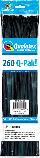 260Q Pak! Jewel Tone Onyx Black-50 Count, 260Q-Pak, Qualatex, T. Myers Magic Inc. - T. Myers Magic Inc.