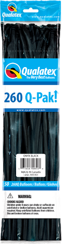 260Q Pak! Jewel Tone Onyx Black-50 Count, 260Q-Pak, Qualatex, tmyers.com - T. Myers Magic Inc.